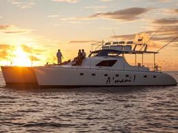 Coucher de soleil à bord du yatch de l'Alphonse Island