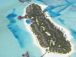 Vue aérienne de l'île de Dhigufinolhu