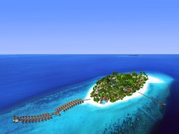 Vue aérienne de l'hôtel Baglioni Resort Maldives