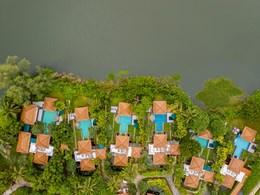 Vue aérienne des sublimes villas