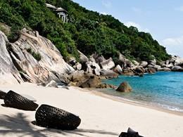 La plage de l'hôtel Banyan Tree à Koh Samui