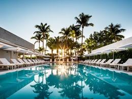 Vue  de la somptueuse piscine de l'hôtel Como Metropolitan, à Miami