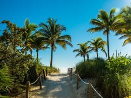 L'accès de la magnifique plage de Miami