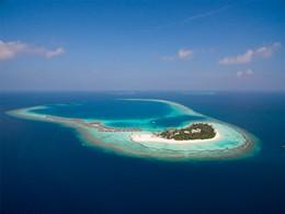 Vue aérienne du Constance Halaveli Maldives