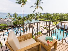 Le balcon de la Guest Room King Oceanfront du King Kamehameha's Kona