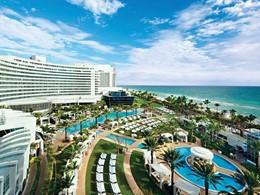 Vue du Fontainebleau Miami Beach, l'un des hôtels mythiques de Miami