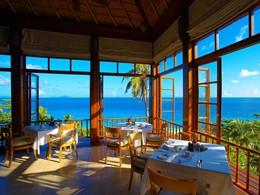 Restaurant de l'hôtel Fregate Island aux Seychelles
