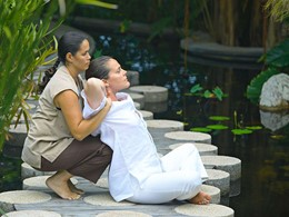Massage en plein air à l'hôtel Fregate Island
