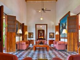 Le lobby de l'Hacienda Temozon situé au Mexique