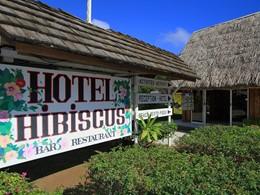 L'entrée de l'hôtel Hibiscus en Polynésie