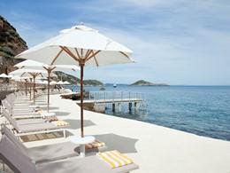 Le Beach Club de l'hôtel Il Pelicano en Italie