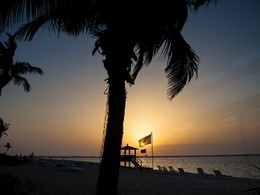 Coucher de soleil à l'hôtel Palm Tree Court