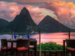 Le restaurant de l'hôtel Jade Mountain à Sainte-Lucie