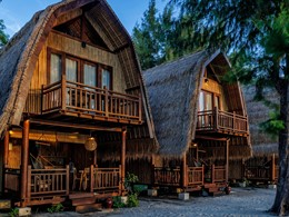 Vue des bungalows du Karma Reef, à Gili Meno
