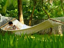 Détente dans un hamac à l'ombre des arbres
