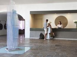 La réception de l'hôtel Minos Palace en Crète