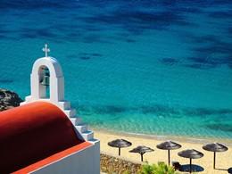 La plage d'Agios Ioannis de l'hôtel Mykonos Grand