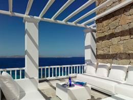 Splendide vue sur la mer Egée depuis le Mykonos Grand