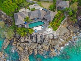Vue aérienne de la villa de luxe Sea Monkey à Mahé