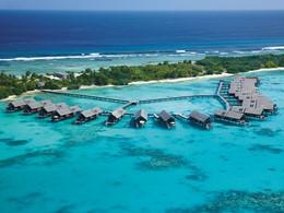 Vue aérienne du Shangri-La's Villingili Resort & Spa