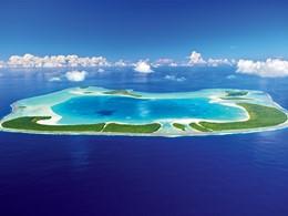 Vue aérienne de l'île Tetiaroa ou se situe l'hôtel The Brando