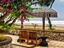 Vue sur la plage depuis l'hôtel The Oberoi
