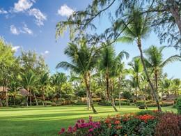 Le jardin de l'hôtel Oberoi à l'Ile Maurice