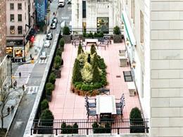 Vue aérienne de la superbe terrasse de l'hôtel