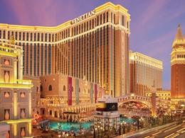 Vue du somptueux hôtel The Venetian à Las Vegas