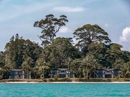 Vue des villas depuis la mer