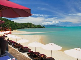 La superbe plage du Zazen Boutique Resort à Koh Samui