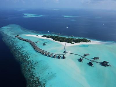 Vue aérienne de l'île de Cocoa, une perle de l'océan Indien