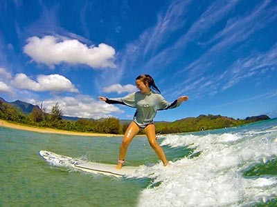 Cours de surf privatif à Hanalei Bay