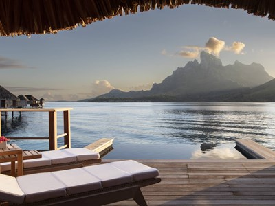 One-bedroom mountain-view overwater bungalow suite with plunge pool