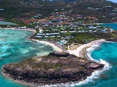 Vue aérienne de l'hôtel Guanahani situé à St-Barth