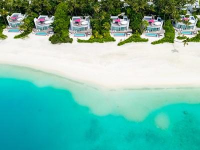 Vue des Beach Villas du LUX* North Malé aux Maldives