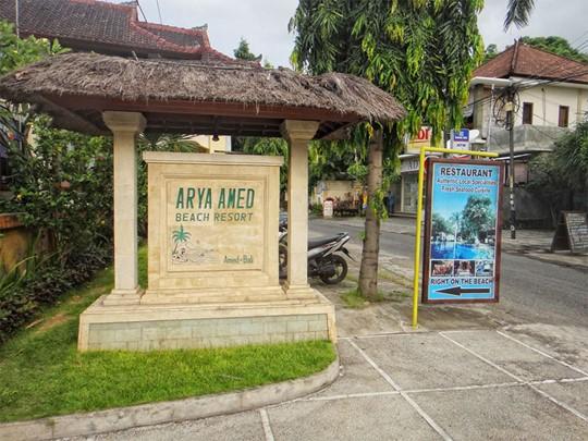 L'entrée de l'hôtel Arya Amed Beach Resort