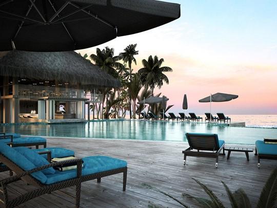 La superbe piscine du Baglioni Resort aux Maldives