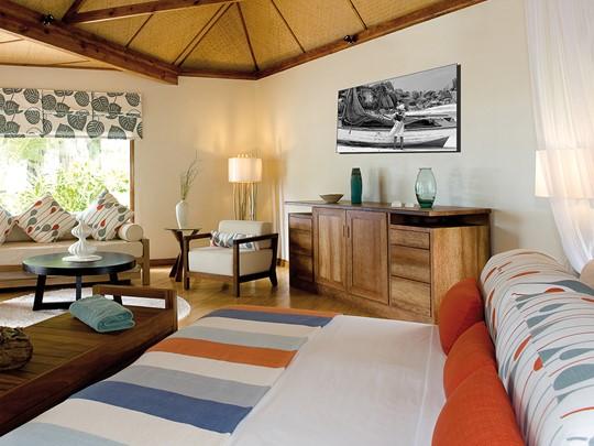 Le magnifique intérieur d'une Beach Cottage à Denis Private Island