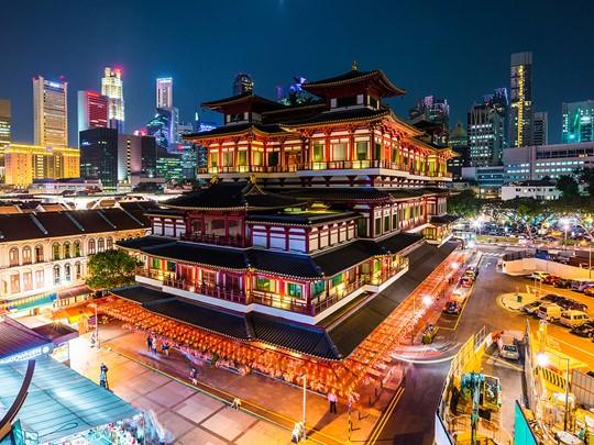 Vue de China Town à Singapour