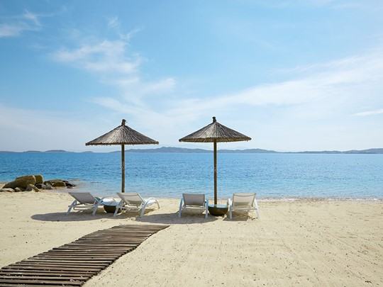 La plage de l'Eagles Villas situé à Halkidiki