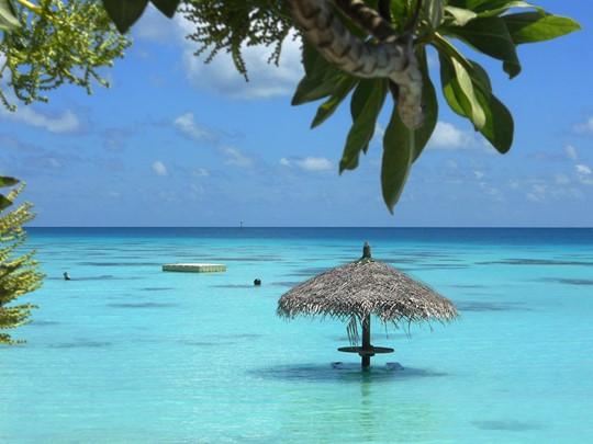 Le lagon de l'hôtel Havaiki Lodge Fakarava en Polynésie