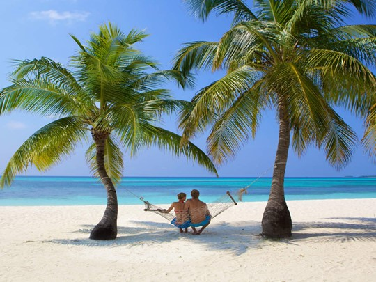 Plage du Kuredu Island Resort sur l'atoll de Lhaviyani
