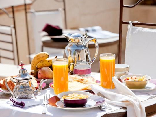 Petit dejeuner à l'hôtel La Villa des Orangers au Maroc