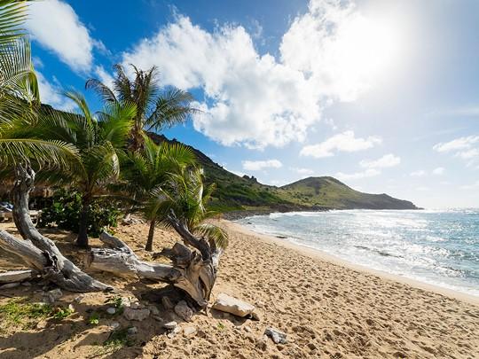 La plage de l'hôtel Le Toiny situé à Saint Barthélémy