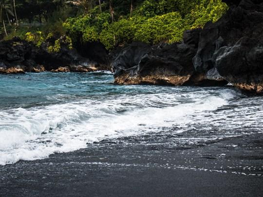 La plage de Punalu'u à Hawai