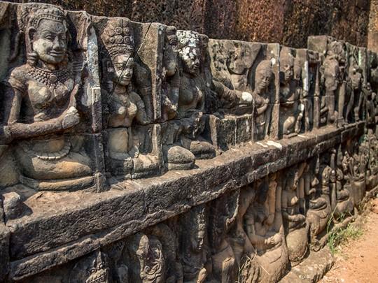 La terrasse du Roi Lépreux d'Angkor Thom à Siem Reap