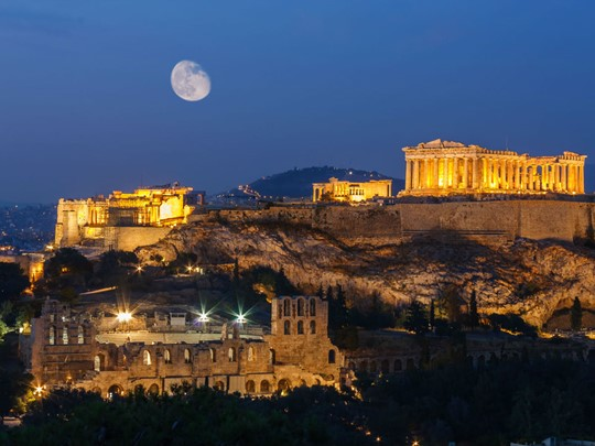 Vue sur l'acropole d'Athènes et le Parthénon