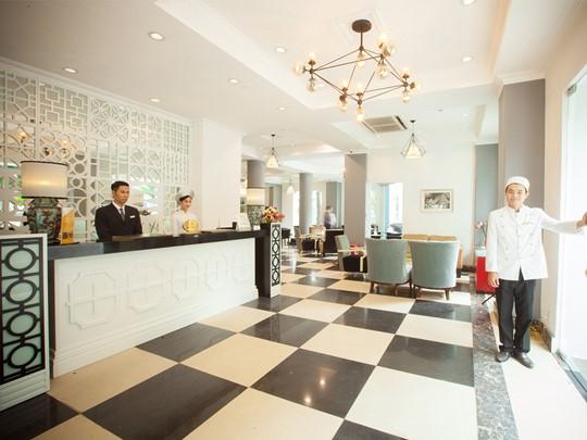 Le lobby de l'hôtel Maison d'Hanoi Hanova au Vietnam