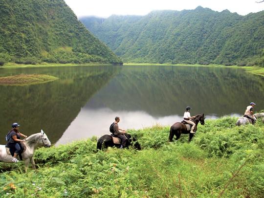 Équitation à travers la nature sauvage